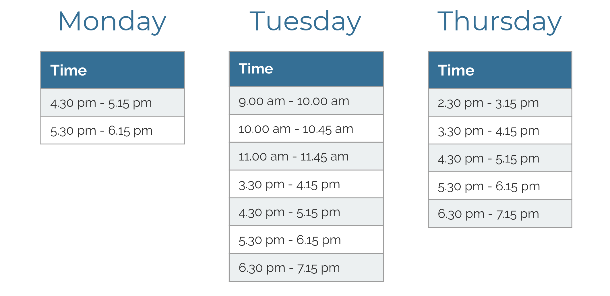 clinic timetable